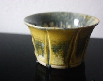 Textured ceramic bowl - beautiful blue and yellow handmade pottery