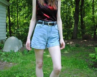 Vintage 90s Paris Blues High Waist Distressed Denim Shorts Size Small