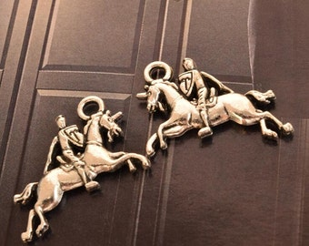 10 antique silver horse rider charms horse riding charm pendant pendants  (X01)