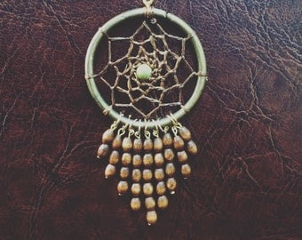 Dreamcatcher necklace,Beads necklace,wooden beads