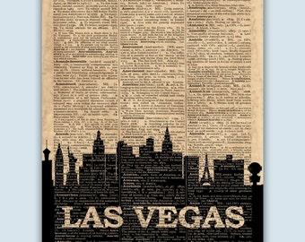 Las Vegas Skyline, Las Vegas Poster, Las Vegas Decor, Las Vegas Print, Las Vegas Nevada, Las Vegas Gift, Las Vegas Wall Decor, Nevada Decor