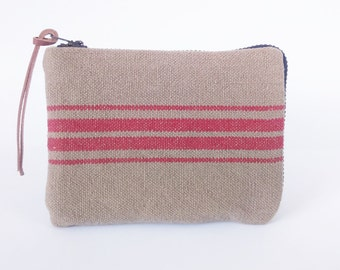 Striped Woven Cotton Coin Purse, Wheat brown