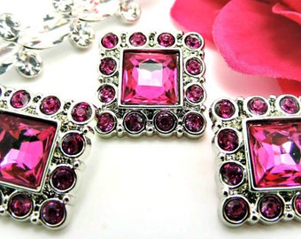 Hot Pink Square Rhinestone Buttons Acrylic Rhinestone Buttons Rhinestone Garment Dress Buttons Coat Buttons Fashion Buttons 26mm 3134 24R