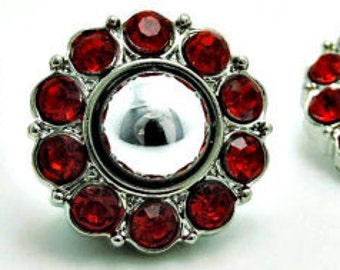 Silver Pearl w/ Red Surrounding Acrylic Rhinestone Buttons Coat Buttons Fashion Garment Buttons Bridal Buttons  25mm 2997 02P 3R
