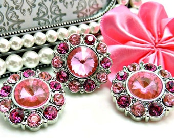 Wholesale PINK Rhinestone Buttons W/ Fuchsia & Pink Surrounding Rhinestones Acrylic Buttons DIY Embellishments Wedding 25mm 2997 26 31 26R