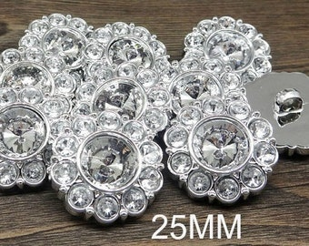 Wholesale CRYSTAL CLEAR Rhinestone Buttons Round Buttons Garment Buttons DIY Embellishments Bridal Buttons Sewing Buttons 25mm 2997 2R