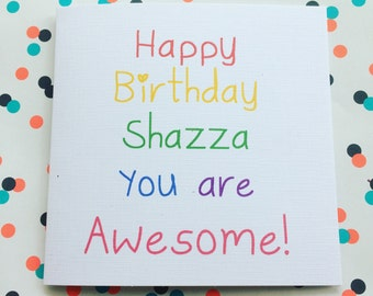 Personalised name awesome rainbow happy birthday card special offer for friend sister best friend aunt