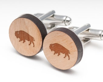 Buffalo Wood Cufflinks Gift For Him, Wedding Gifts, Groomsman Gifts, and Personalized