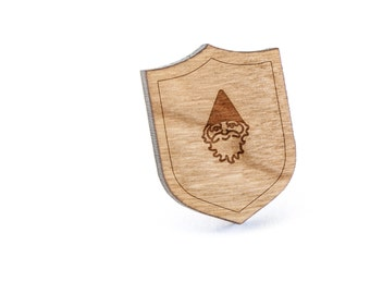 Gnome Lapel Pin, Wooden Pin, Wooden Lapel, Gift For Him or Her, Wedding Gifts, Groomsman Gifts, and Personalized