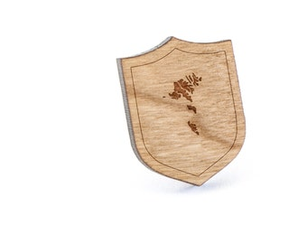 Faroe Islands Lapel Pin, Wooden Pin, Wooden Lapel, Gift For Him or Her, Wedding Gifts, Groomsman Gifts, and Personalized