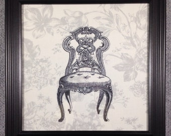 Framed fabric print of an antique French chair