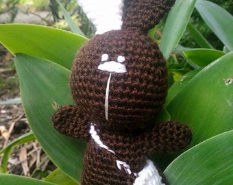 CROCHED BUNNY with a white ear/brown/crochet doll/crochet bunny/doll with bag/amigurumi/bunny/australia/aussi/interior toys/baby crochet toy