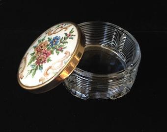 Vintage Floral Powder Jar- Dressing Table Jar- Cold Cream Jar- Vanity Jar- Vintage Glass Jar With Floral Lid- Boudoir Jar- Trinket Dish