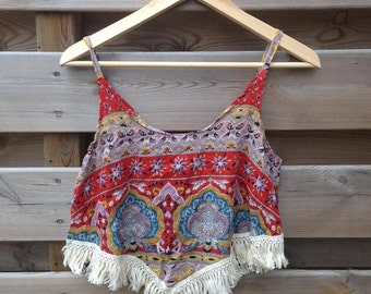 SALE - WOMENS | Bohemian red tassel top | Size S/M - SALE