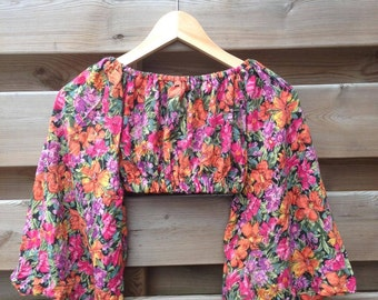 SALE - WOMENS | Flowery bohemian top | Size S/M - SALE