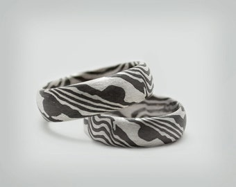 "Partner rings / wedding rings ""Mokume Gane"" silver"