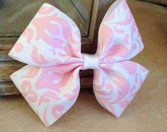 Basic double hair bow (pink and white)