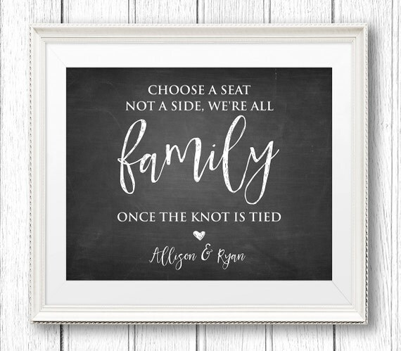 Choose a Seat Not a Side Wedding Welcome Sign, Printable, Rustic Ceremony, Chalkboard, Instant Download, Editable Template, 8x10, PDF #CH25