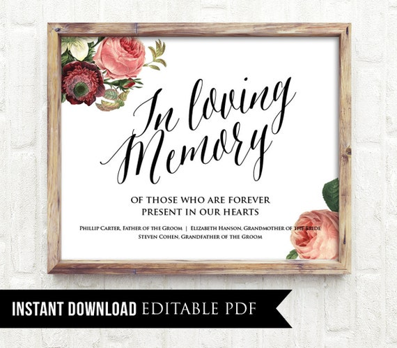 50 off in loving memory wedding sign template editable for In memory cards templates
