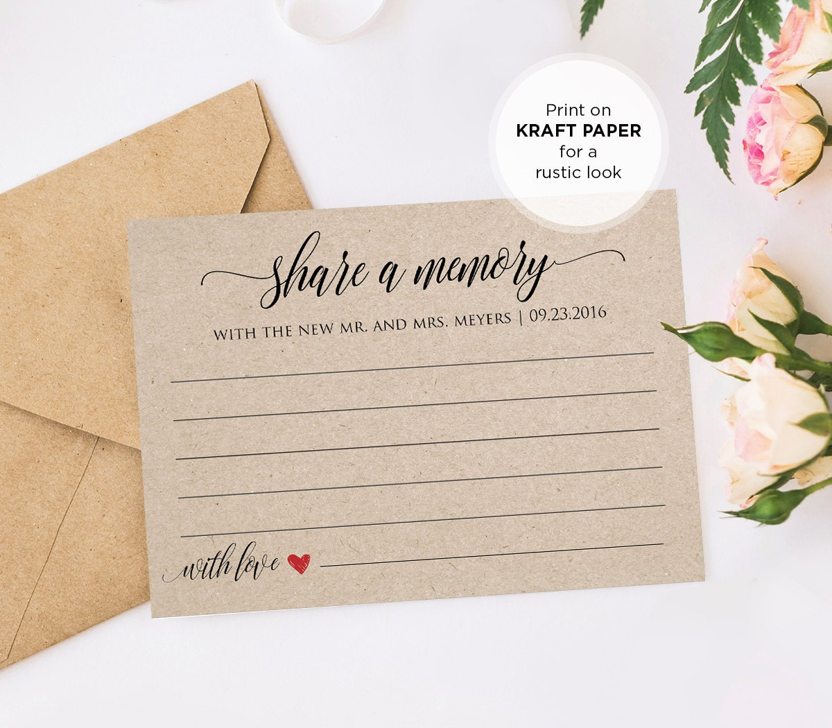Share a memory printable card wedding advice template for for Bridal shower advice cards template