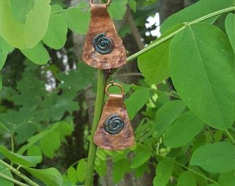 Aztec handmade copper earrings