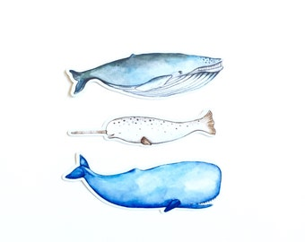 Glossy Watercolor Whale Stickers