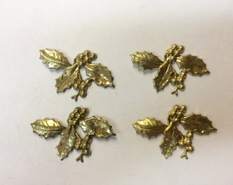 Brass Stamping - Brass Holly Leaves - Set of 4