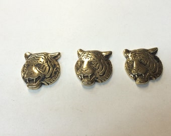Stamping - Metalized Plastic Tiger Head - Set of 3