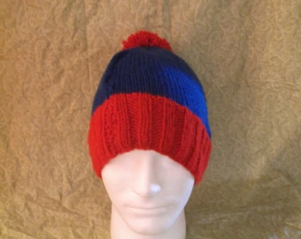 Red and Blue Knit Hat with Pom Pom