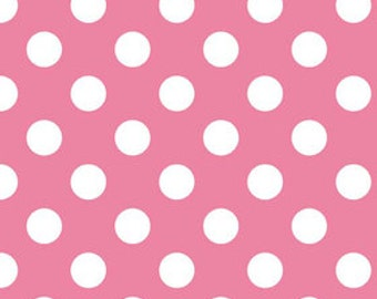 Riley Blake Medium Dot, White on Hot Pink,  fabric by the yard