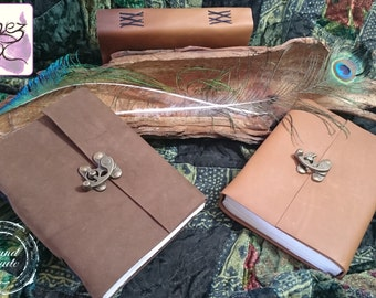 Handmade Soft Suede Leather Journal with Brass C-Lock Closure