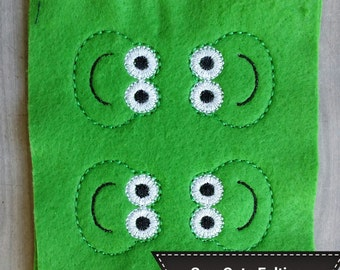 Frog Face Felties - Sheet of 4 Frog Felties - Animals - Frogs - Felties -Embroidered Felt Appliques - Hair Bow Centers