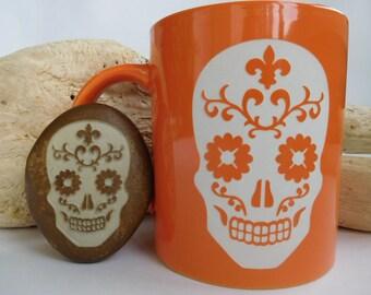 Calavera (Sugar skull). Dia de los Muertos. Day Of The Dead.  Mexican Sugar Skull Gift