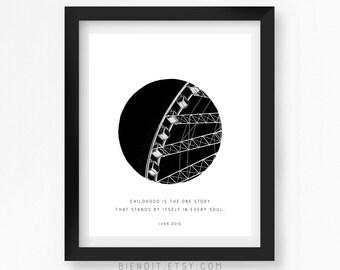 Childood Quote, Literary Quote, Ivan Doin, Quote Print, Typography Print, Ferris Wheel, Literary Art, Minimalist Art