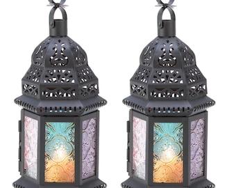 Rainbow Kaleidoscope Candle Lanterns! Set of 2!