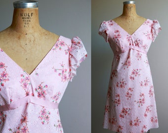 1970s Pink Baby Doll Floral Dress - Small
