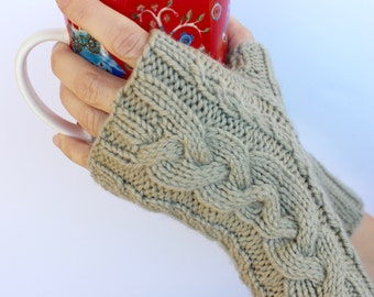 Cable Knit Fingerless Gloves, Cable Knit Gloves, Fingerless Mittens, Kids Gloves, Wool Gloves, Hand Knit