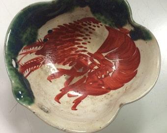 Handmade Vintage Ceramic Shrimp Bowl