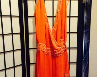 Coral Beautifully Beaded Silk Halter Dress - Small