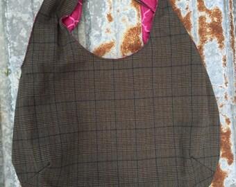 61 - Dark Gray Hobo Bag, Gift, Fall, Winter, Summer, Reversible, Dark Pink, Purse, Medium