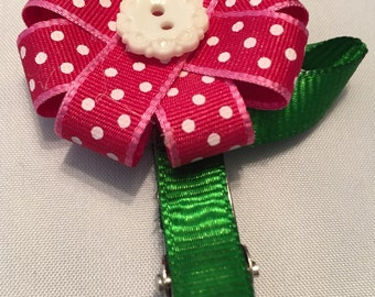 Adorable polka dot flower hair clip
