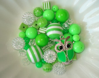 Bead Kit Bubblegum Chunky Striped Beads Green Enameled Owl Charm