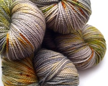 "Hand Dyed Yarn Grey Yellow Merino Fingering Yarn Superwash 408yds 115g ""Lichen me on Mossbook"""