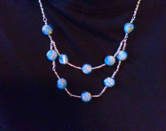 Teal and Silver Beaded Necklace