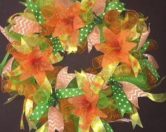 Spring Deco Mesh Wreath/ Summer Deco Mesh Wreath/ Flower Deco Mesh Wreath