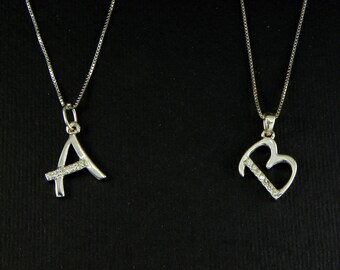Initial letter of your name, Necklace in 925 sterling silver - A - B - C - D - E - F