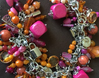 Vintage Beaded Cha Cha Charm Bracelet Oranges and Pinks