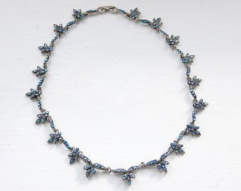 Fabulous 1980s blue stoned floral marcasite necklace | Free worldwide delivery