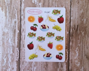 Fruit Stickers, Salad Stickers, Healthy Eating Stickers, Food Stickers, Strawberry Stickers, Erin Condren Planner Stickers, C-53.