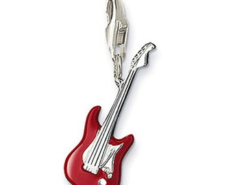 3D Red Guitar Dangle Charms for Floating Music Lockets